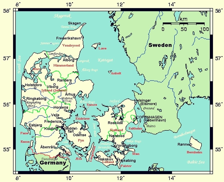 carte danemark europe